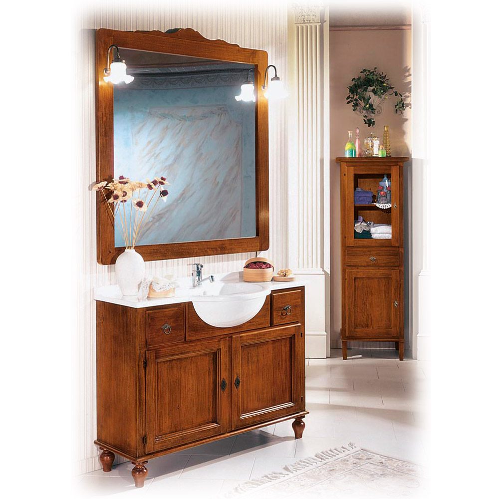 Italienisches Waschbecken Sarna mit Unterschrank & Badspiegel