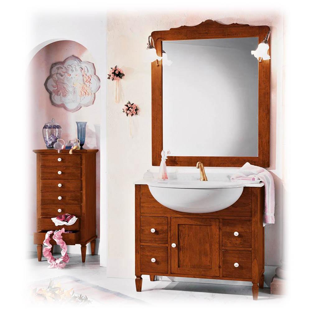 Italienisches Waschbecken Rivo mit Unterschrank & Badspiegel
